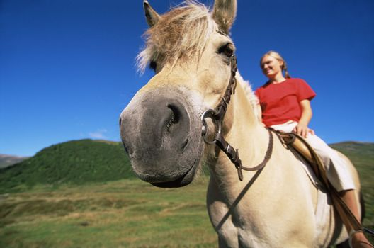 Woman outdoors riding horse and smiling (fisheye)