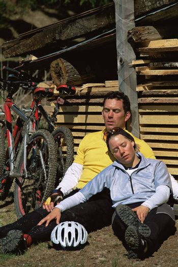 Cyclists resting after cycle ride