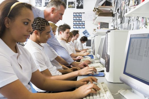 Students working on computer workstations