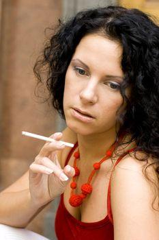 brunette with cigarette