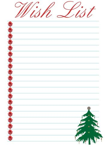 a wish list decorated with a christmas tree - background