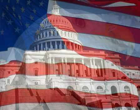 Flag, Eagle, US Capital. Composite of three photos taken by the author.