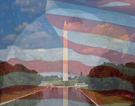 Flag, Eagle, Washington Monument. Composite of three photos taken by the author.