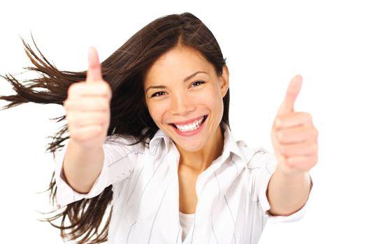 Success woman thumbs up