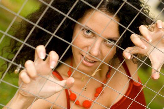 woman behind a lattice