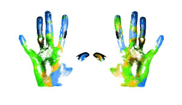 Earth handprints