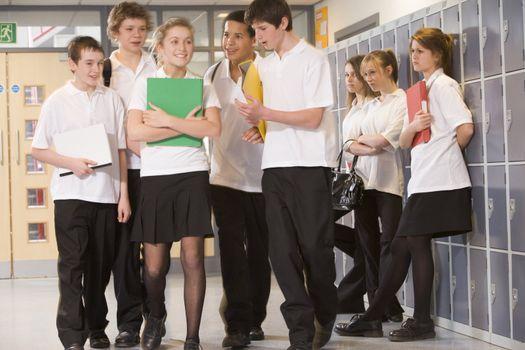 Secondary school students in a school hallway