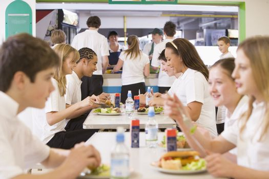 Students having lunch in dining hall