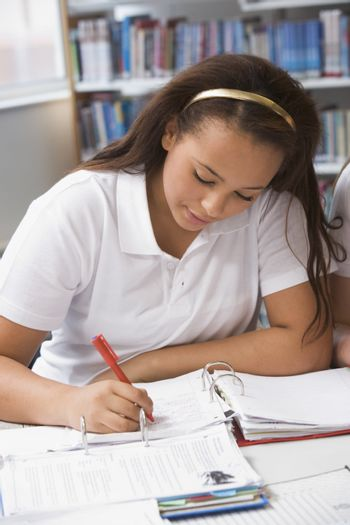 Student writing and studying