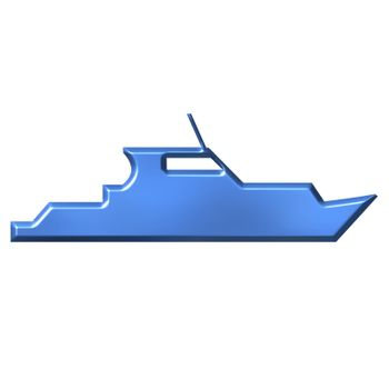 Azure boat isolated in white