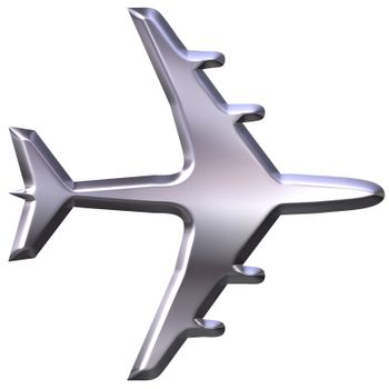 3d silver airplane model  isolated in white