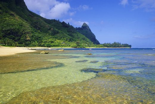 Tunnels Beach is one of the most popular locations for snorkeling and scuba diving in all of Hawaii. Located on the north shore of Kauai.