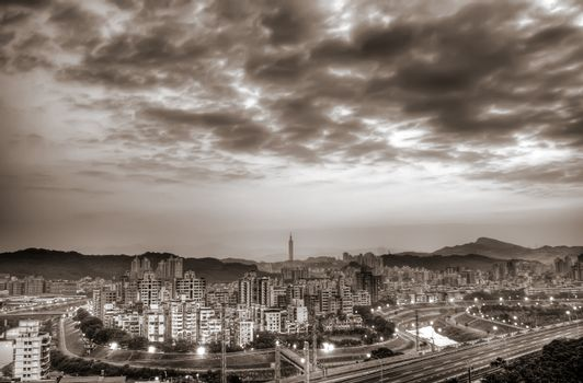 City skyline in Taipei town with buildings in the morning.