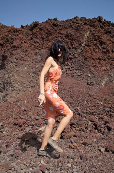 walking on volcanic area