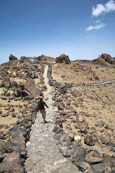 walking on volcanic path