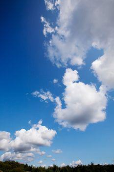 A cloud background with cumulus clouds