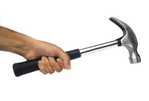 Hand holding a silver claw hammer against a white background