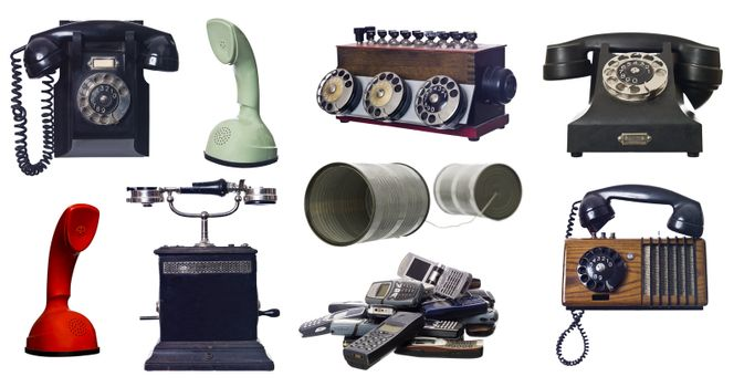 Collage of vintage telephones