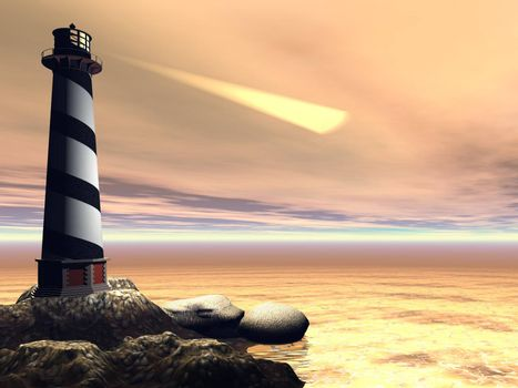 A lighthouse shines out to sea to warn passing boats and ships.