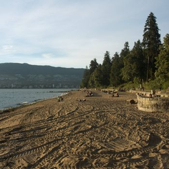 Stanley Park in Vancouver, British Columbia with English Bay in background