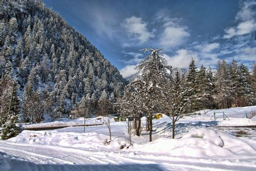 Cold Winter in the Heart of Dolomites, Veneto, Northern Italy