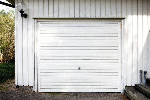 A white garage door abstract