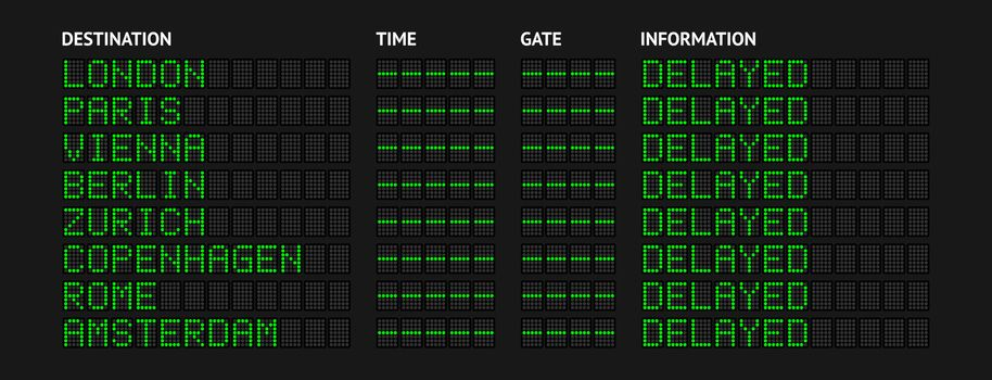 Airport Flight Information Board Showing Delayed State.