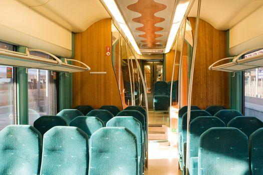 An empty train interior