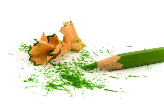 green pencil and sawdust