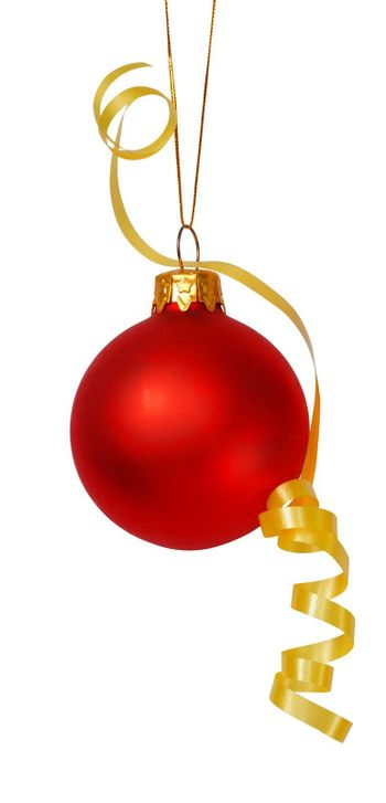Red Christmas bauble with yellow ribbon isolated on white