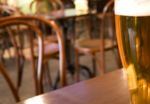 beer in cafe