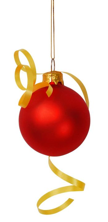 Red Christmas bauble with yellow ribbon isolated on white background