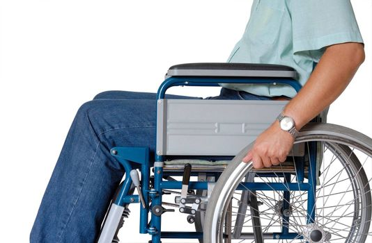 Man sitting in wheelchair - isolated