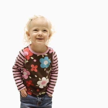 Female toddler laughing.