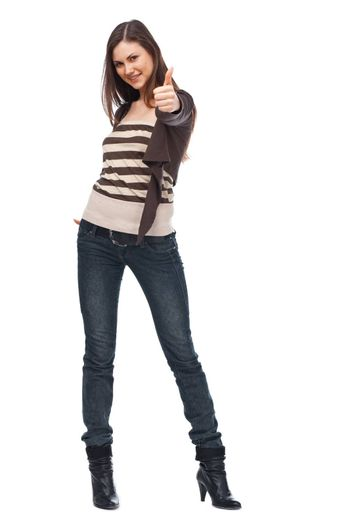 Smiling woman with a thumbs up sign isolated over white