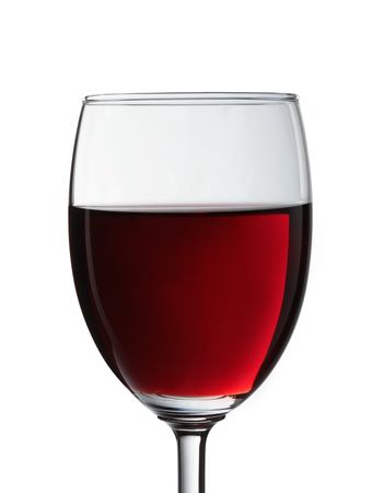 Closeup of glass with red wine isolated on white background