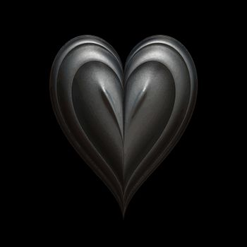 iron heart on black background lit in low key style
