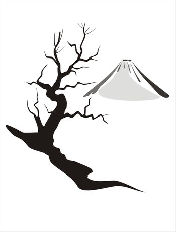 Illustration of Mount Fuji (Japan) in wintertime with a bare-branched tree