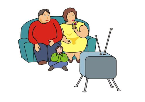 Very obese family sitting and watching TV, the mother is eating an ice.