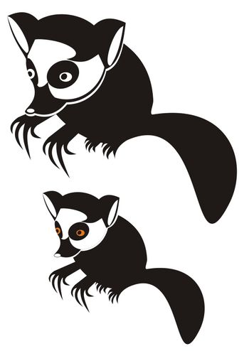 stylized illustration of a lemur