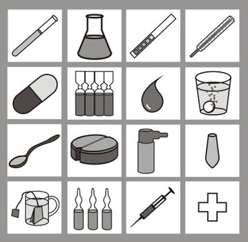 medical icons, grayscale, outlines black, no gradients