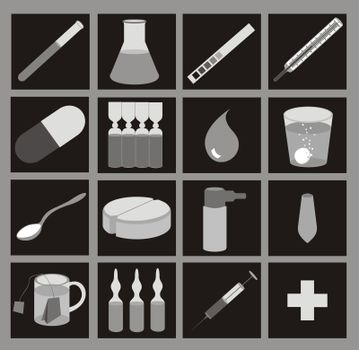 medical icons, grayscale on black, with gradients