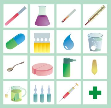 medical icons, color on white, with gradients