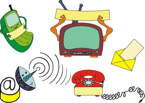 communication devices, cartoon style