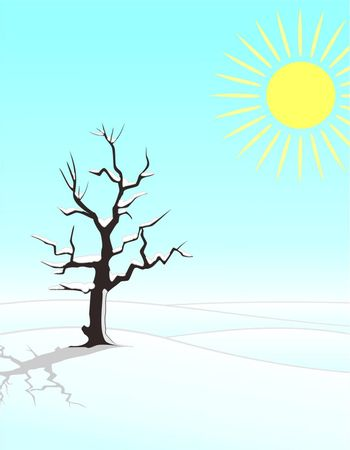 four seasons illustration: winter single tree in the fields with snow