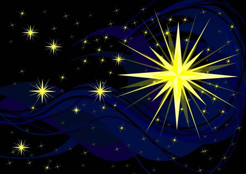 Sparkling stars on black, christmas background illustration