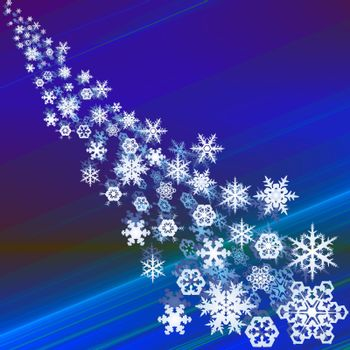 Snowcrystals falling, abstract blue background winter illustration