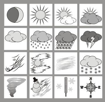 Weather icons or cliparts grayscale with black outlines on white background