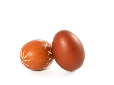 two red Easter Eggs isolated on white background