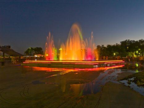 Multicolored fountain